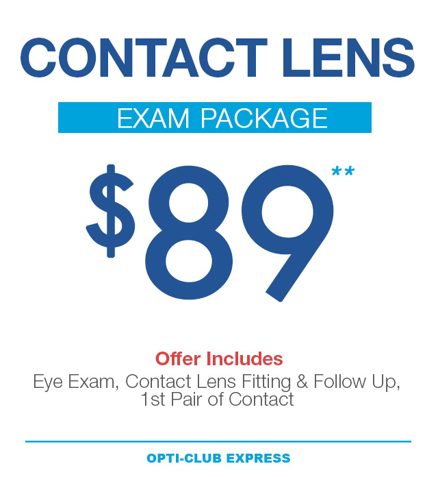 eye exam package for $89
